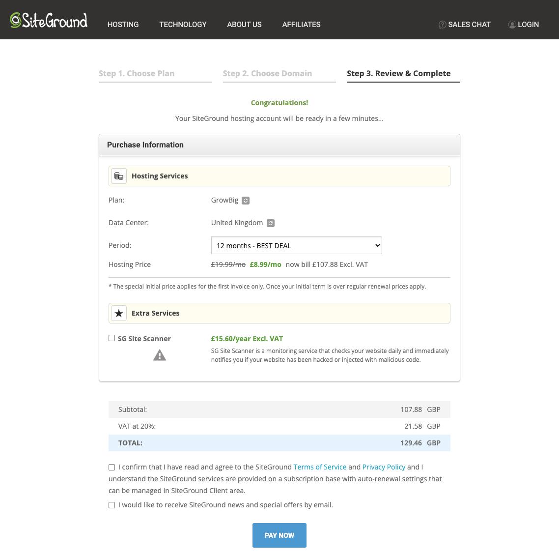 SiteGround Sign Up Step 3